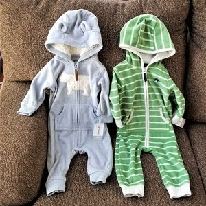 2 Carters 1-piece Outfits w/Hoods 6m Baby Boy  NWT
